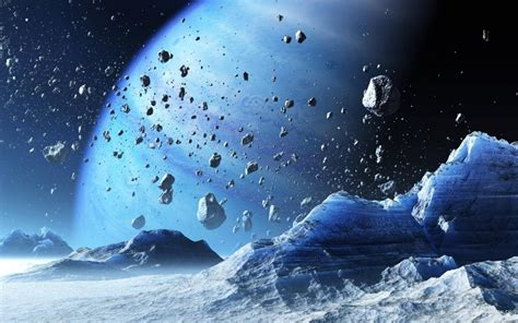 frozen planet wallpaper asteroids orbiting the frozen planet wallpaper man made