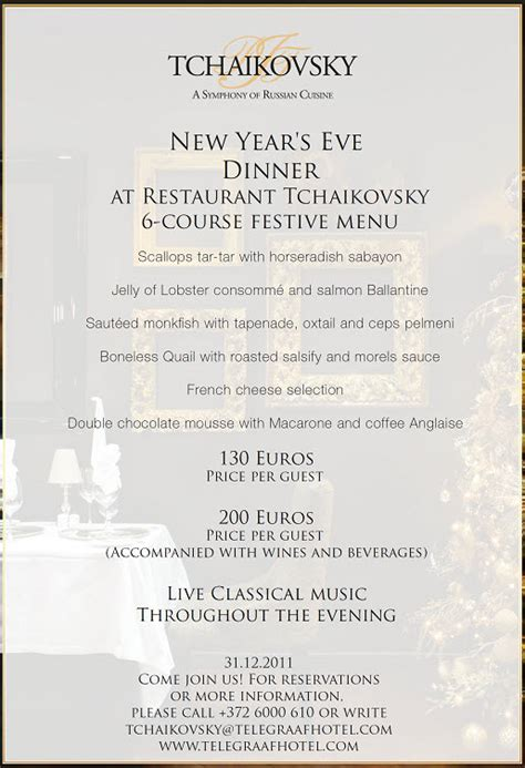 new year menu traditional new year s gala dinner in tchaikovsky bonjour l estonie