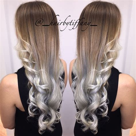 silver and brown hair style brown and silver ombre hair makeup nails pinterest