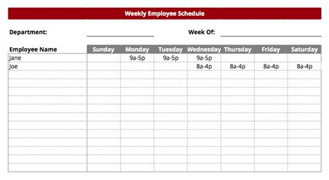 Employee Work Schedule Template Schedule Template Free Retail Employee Schedule Template