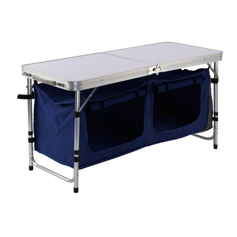 Folding Table With Storage Picnic Portable Adjusable Aluminum Folding Table Storage Bag Cookout Stand C Ebay
