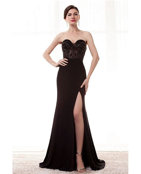 dress with beading strapless slit black formal prom dress with beading bodice