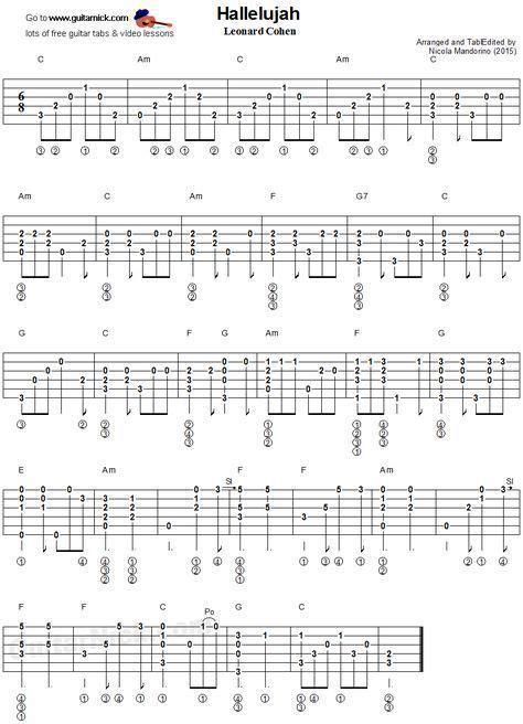 tutorial guitar fingerstyle hallelujah fingerstyle guitar tablature musical stuff