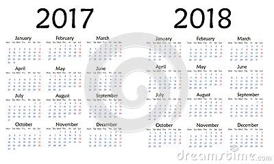 Calendrier Industriel 2017 Simple Calendar For 2017 And 2018 Year Stock
