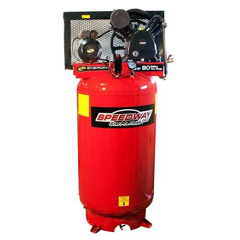 speedway 80 gal 2 stage compressor cast iron belt drive with asme tank 51866 the home depot