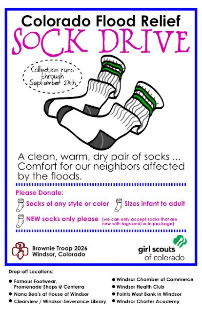 Sock Drive Flyer Template Girl Scout Printables