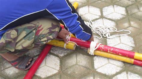 cara membuat tiang jemuran pramuka tutorial membuat tiang bendera kaki tiga pramuka youtube
