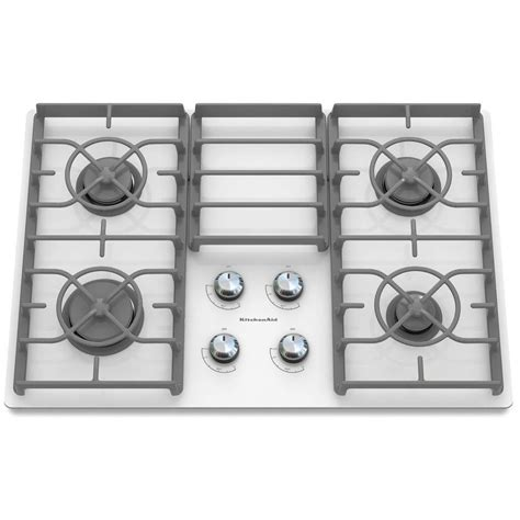 White Glass Gas Cooktop kitchenaid architect series ii 30 in gas on glass gas cooktop in white with 4 burners including