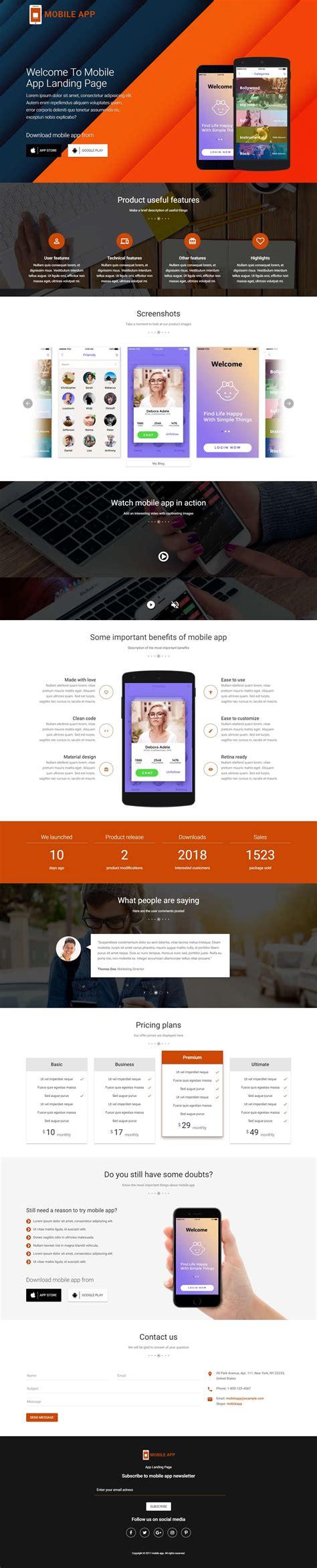 Mobileapps Responsive Html Mobile App Landing Page Template Olanding Mobile App Landing Page Template