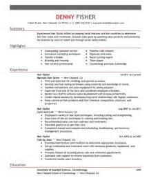 Resume Exles For Hairstylist by Hair Stylist Resume Exle Personal Services Sle Resumes Livecareer