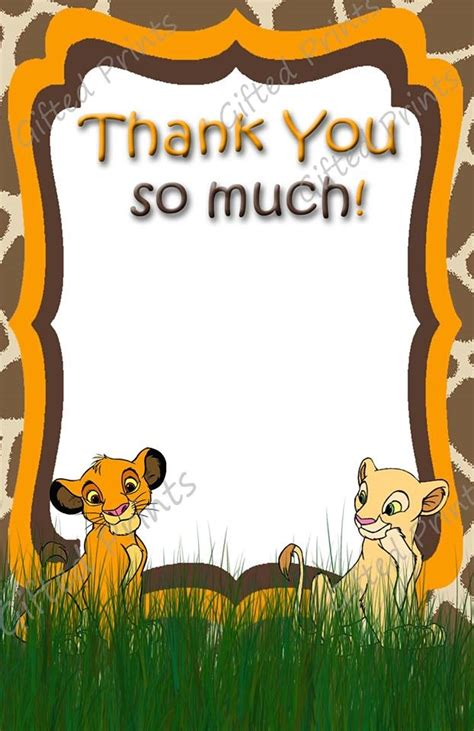printable lion king thank you cards thank you card simba theme