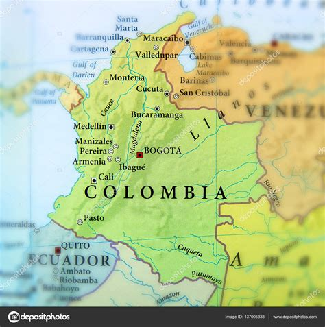 map of columbia geographic map of columbia countries with important cities