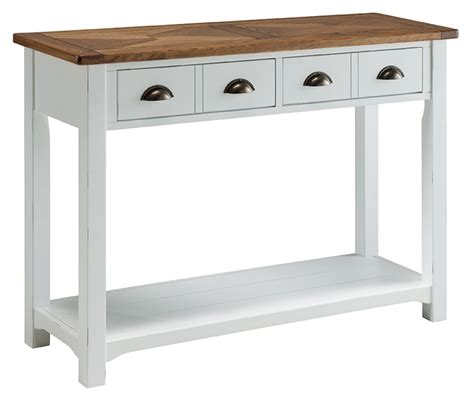White Console Table Porto Painted White Reclaimed Pine Chunky Style Console Table