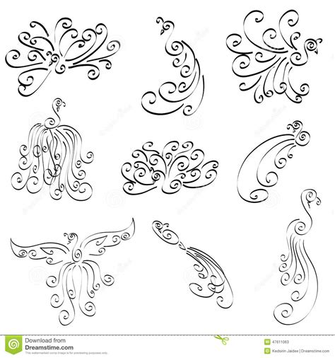 doodle time designs peacock doodle designs isolated vector set stock vector