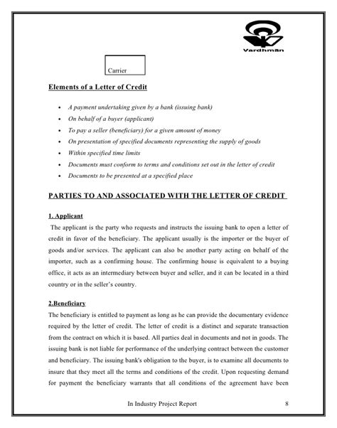 Letter Of Credit Qatar Project On Letter Of Credit And Working Capital
