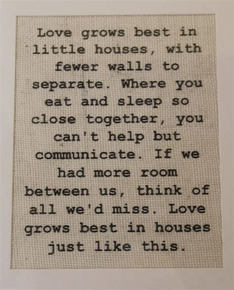 Quot The Little House Quot From Little House On The Prairie | love grows best in little houses burlap sign wall print