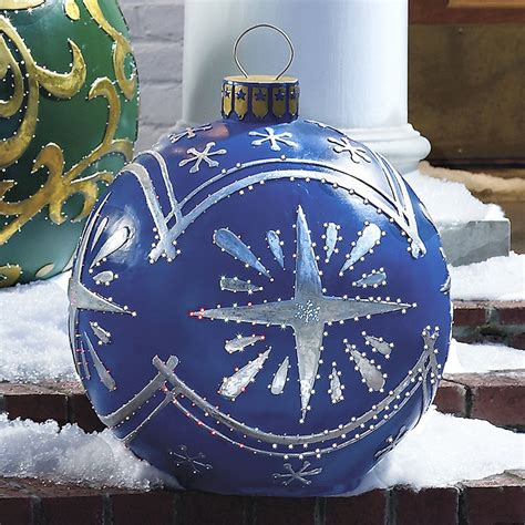 blue outdoor decorations outdoor lighted ornaments the green
