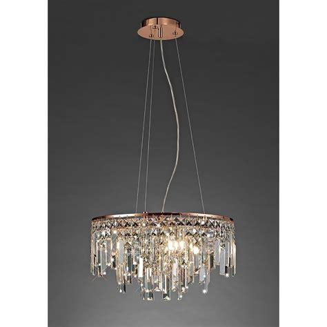 rose gold chandelier light diyas maddison circular 6 light crystal and rose gold