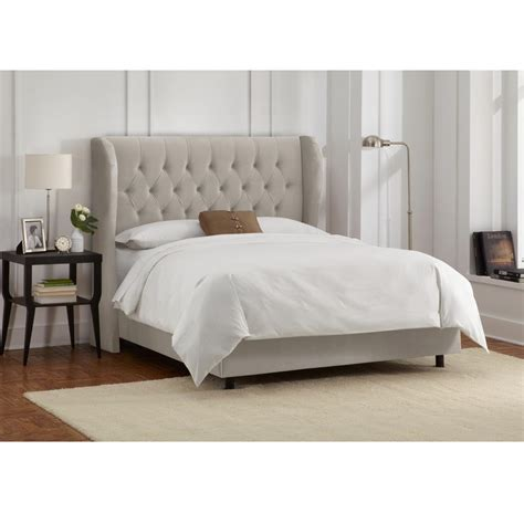 velvet light grey queen tufted wingback bed 412bedvlvlghgr