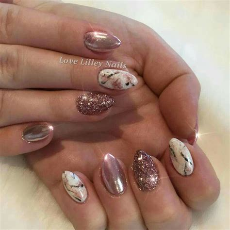 nail design marble effect top 25 best rose gold glitter nails ideas on pinterest