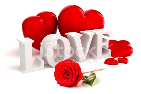 3d Love Text, Red Hearts and Rose on White Background
