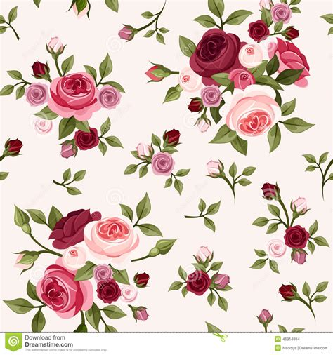 pattern pink rose vetor seamless pattern with red and pink roses vector