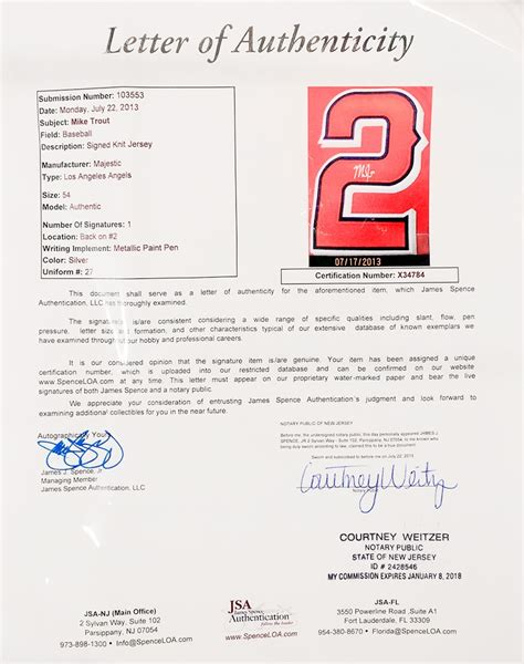 Jsa Award Letter From Jcp Mike Trout Autographed Los Angeles Majestic Jersey Jsa Letter Da Card World
