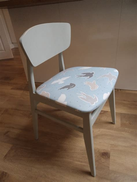funky vintage dining chair covered in clarke clarke