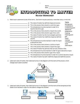 Introduction To Science Worksheet by Introduction To Matter Review Worksheets Editable By