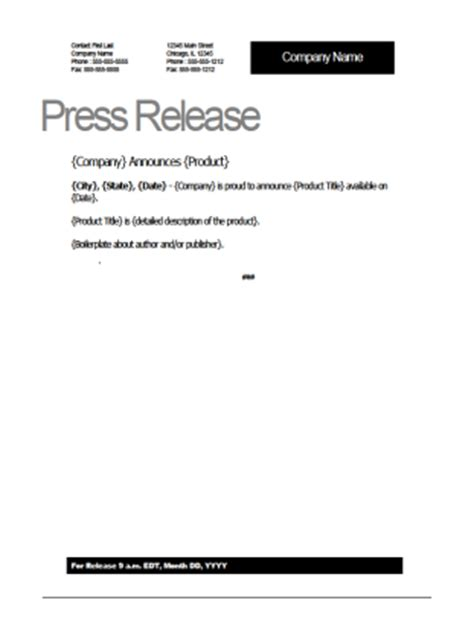 new product press release template press release template
