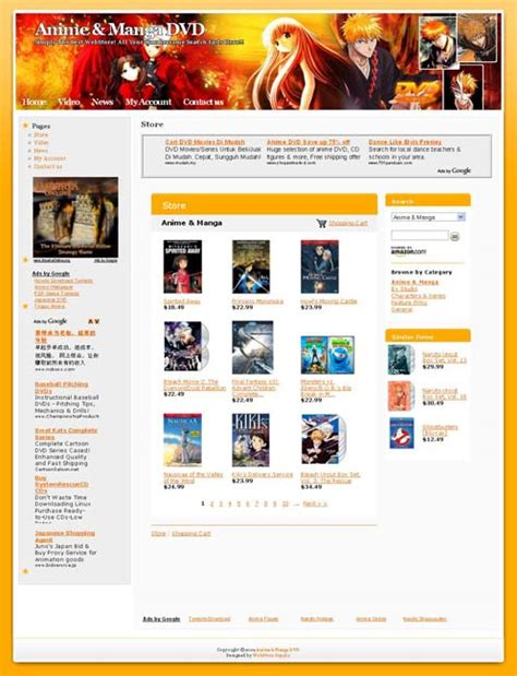 V Anime Website by Anime Dvd Shop Business Website For Sale