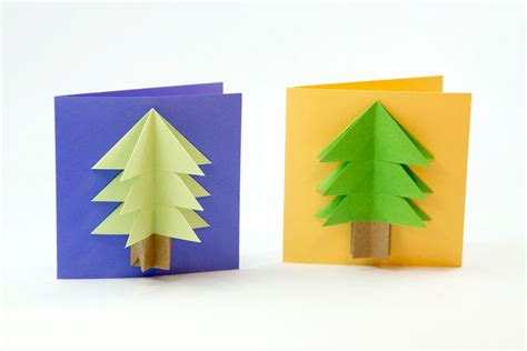 Tree Origami Easy - easy origami tree card tutorial
