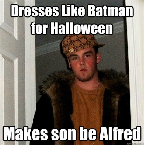 Alfred Meme - dresses like batman for halloween makes son be alfred
