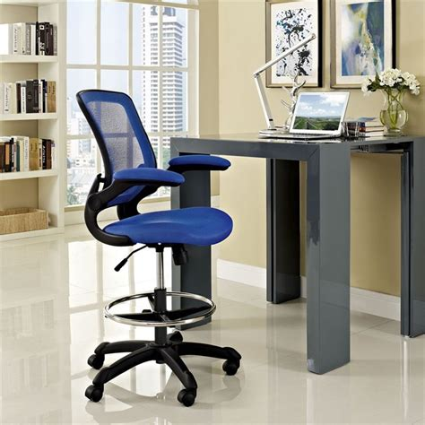 Modway Veer Drafting Stool Chair by Modway Veer Mesh Drafting Stool In Blue Eei 1423