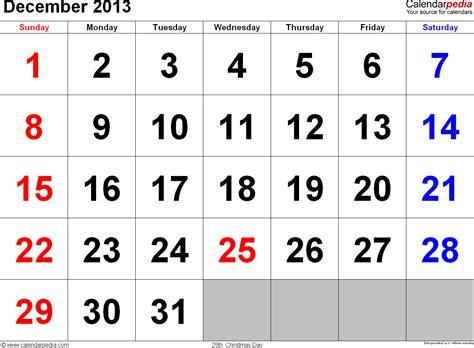 Calendar December 2013 December 2013 Calendars For Word Excel Pdf