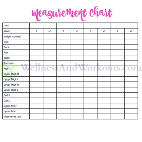 search results for body measurement printable chart