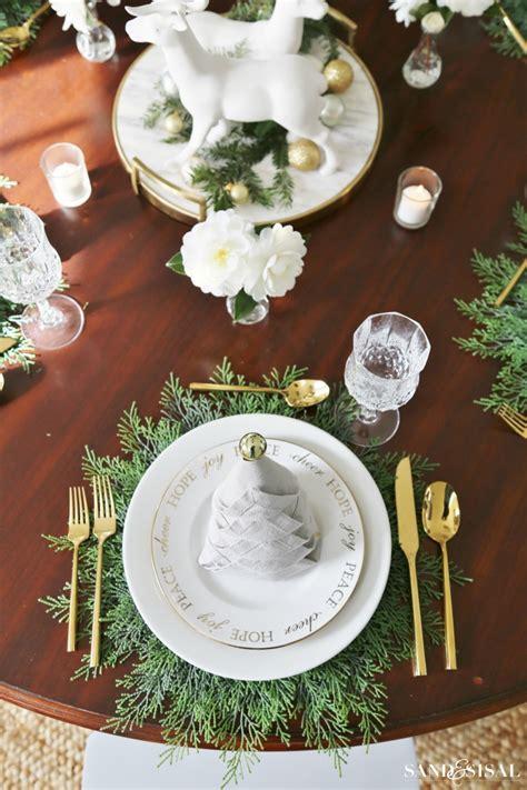 christmas dinner tablesetting ideas sand  sisal