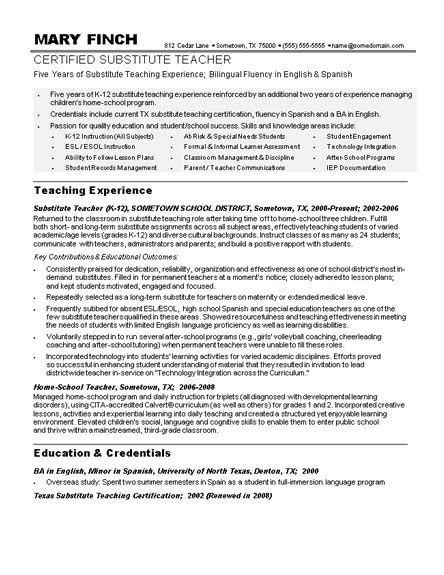 sle substitute resume 28 images term substitute resume sales secondary school pe resume