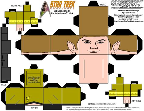 Papercraft Trek - cubee trek continues capt t kirk by njr75003