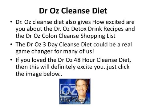 Dr Oz 48 Hr Detox Review by Dr Oz Cleanse Diet