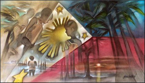 layout artist in tagalog philippine flag 2006 painting by glenn bautista