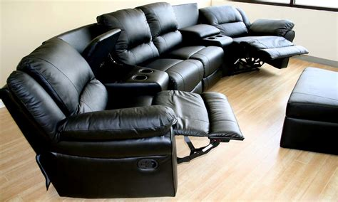 recliner movie chairs home theater sectional genuinue black leather recliner