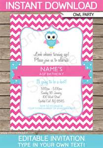 owl party invitations pink birthday party template