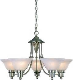 Lighting Fixtures Chandeliers Chandelier 5 Light Brushed Nickel Finish Alabaster Glass Foyer Dining Room New Ebay