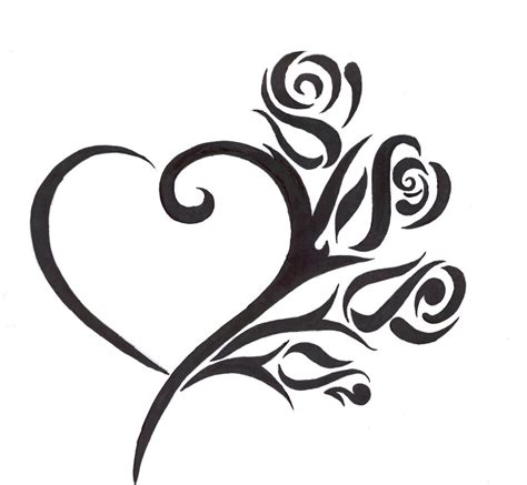 flower heart tattoo designs images designs