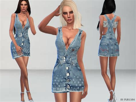 design clothes sims 4 the sims resource designer denim dress by puresim sims