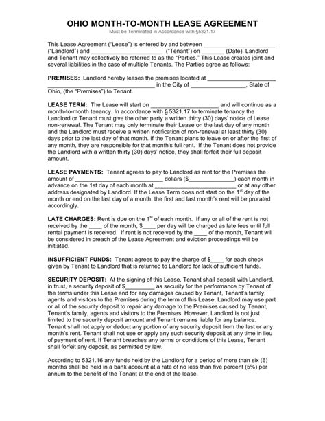 free printable rental agreement ohio free ohio month to month lease agreement template pdf