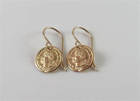 coin earrings gold coin piercing gold disc piercing