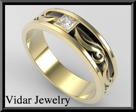 Mens 2 Tone Gold Wedding Ring   Vidar Jewelry   Unique