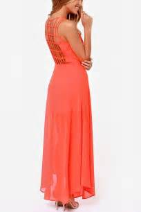 Coral chiffon sleeveless caged back maxi dress casual dresses women